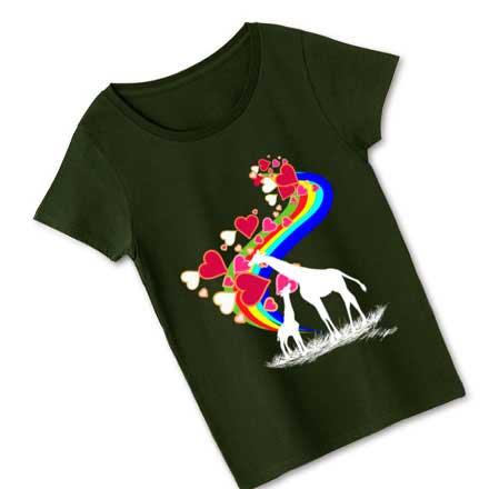 カーキーボディとキリン/虹Tシャツ