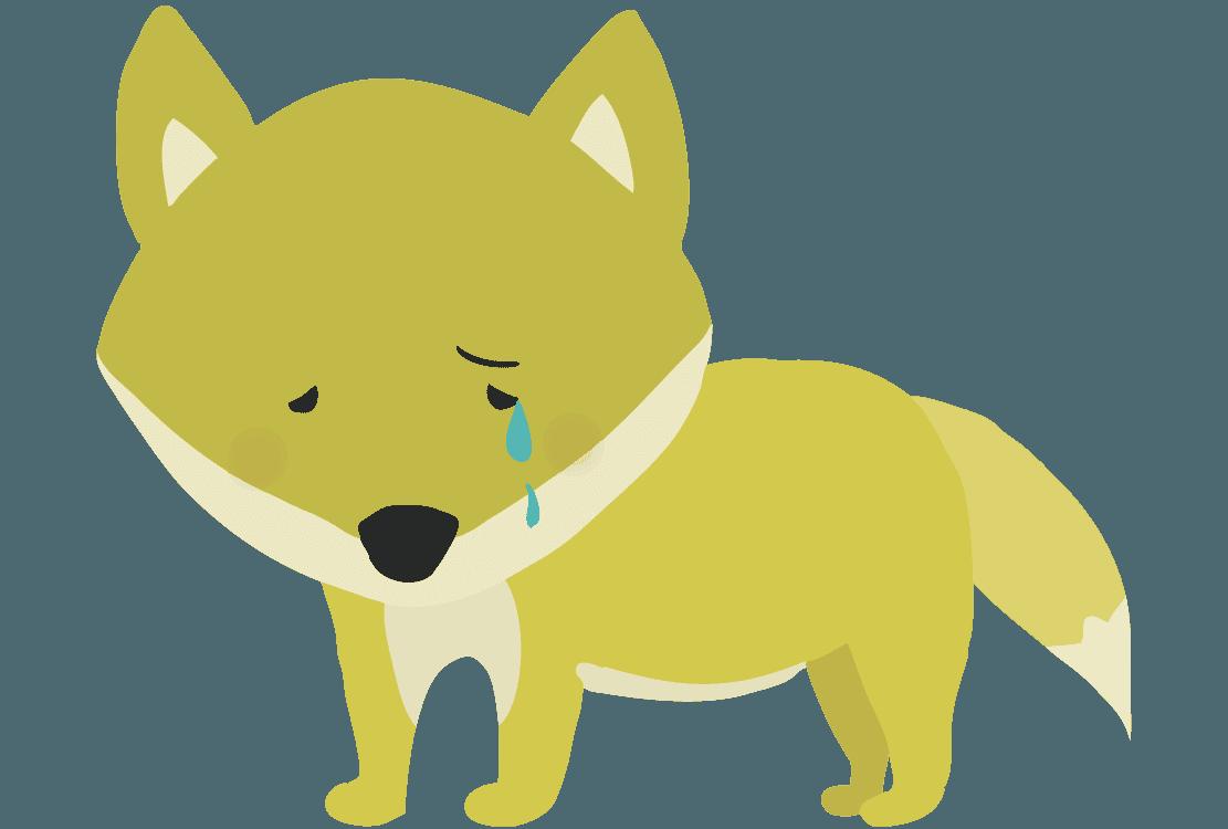 泣いているキツネイラスト