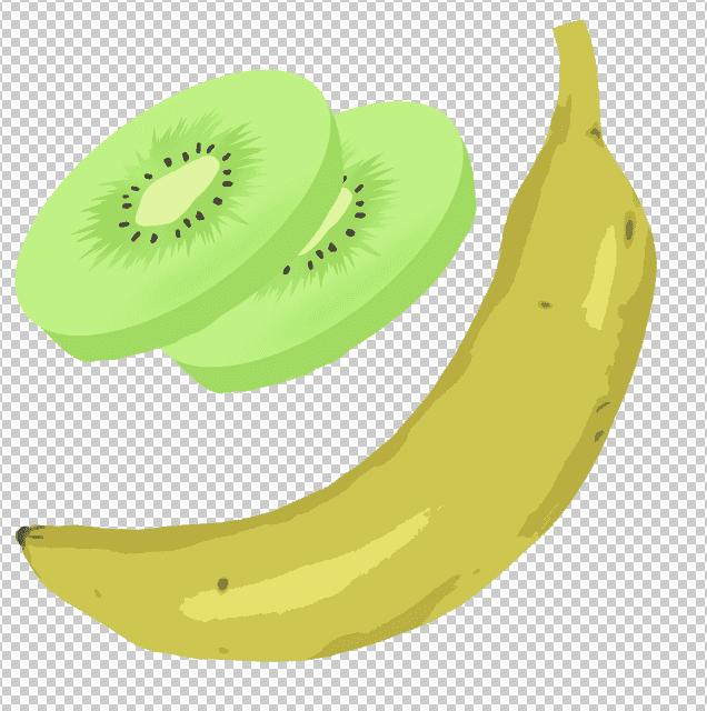 ダウンロードして開いたバナナとキウイのフリーイラスト