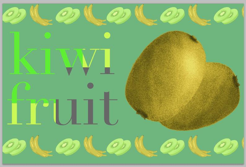 キウイのフリー素材とバナナのフリーイラスト素材のデザイン例