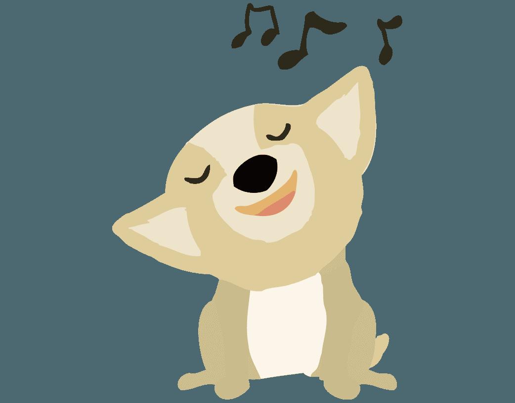 歌を歌う可愛いコーギーのイラスト