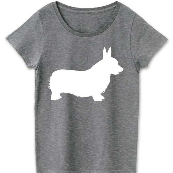 コーギーTシャツ - アートなシルエットデザイングッズ