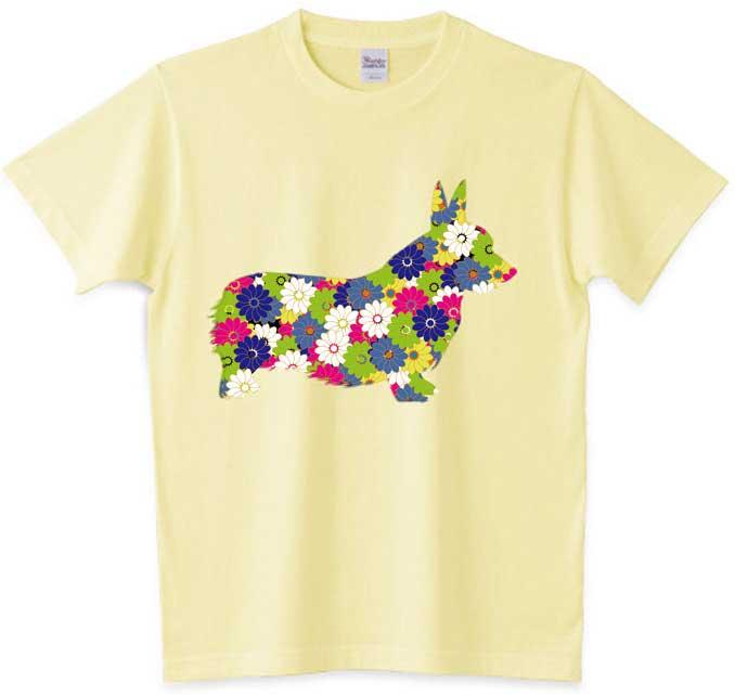 花柄コーギーTシャツ