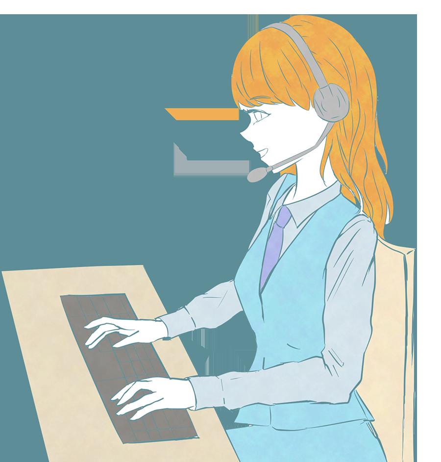 コールセンタースタッフのイラスト(女性カラー)
