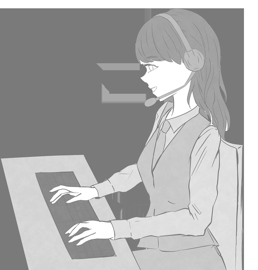 コールセンタースタッフのイラスト(女性白黒)