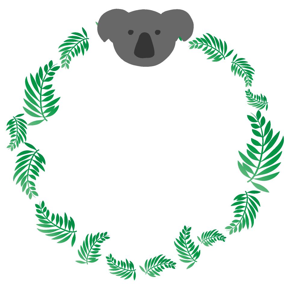 コアラの丸フレーム(背景なし961×961)