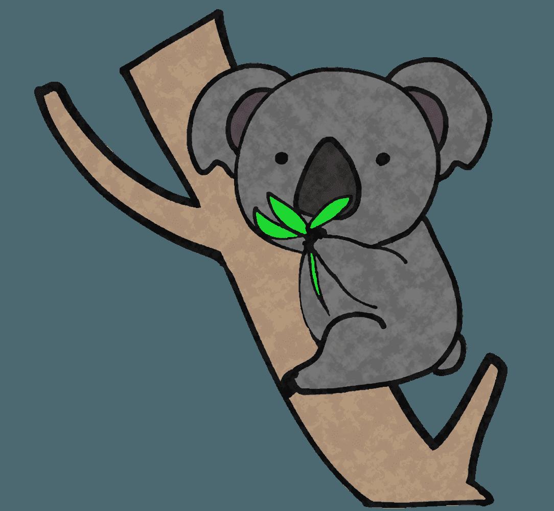 ユーカリの葉を食べるコアライラスト