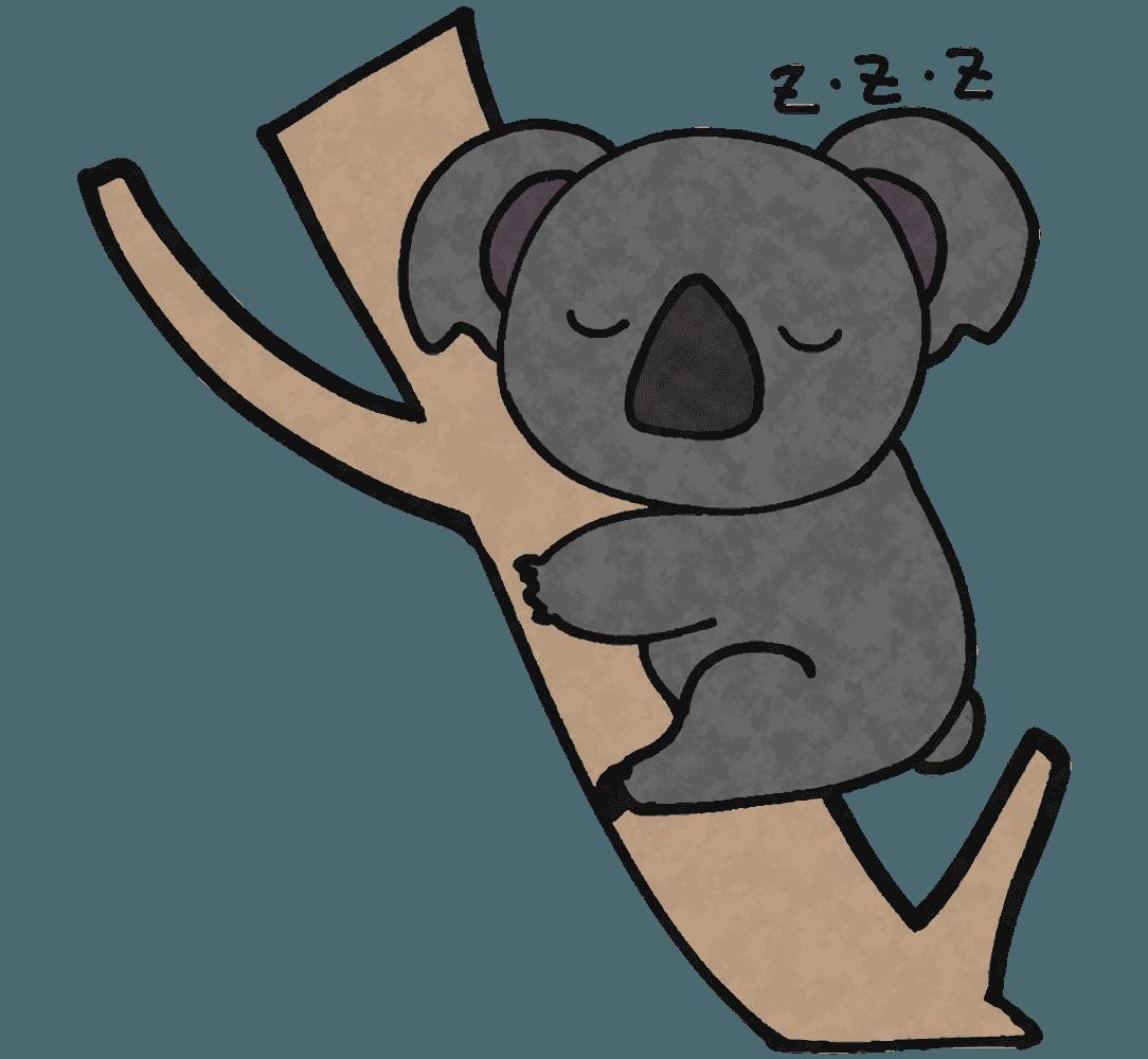 木に登りながら寝るコアライラスト