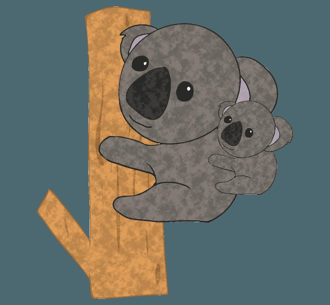 子供コアラをおんぶする親コアライラスト
