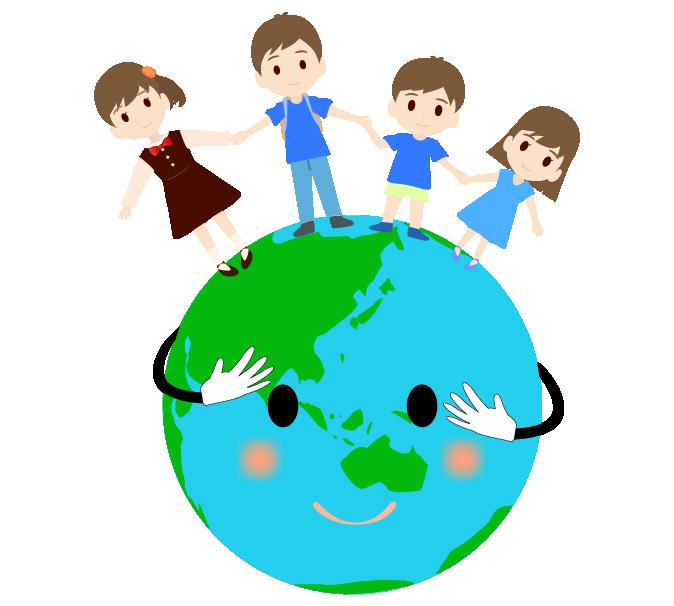 エコ地球と手を繋ぐこどものイラスト