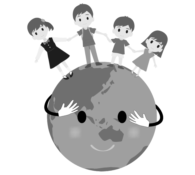 エコ地球と手を繋ぐこどものイラスト(白黒)