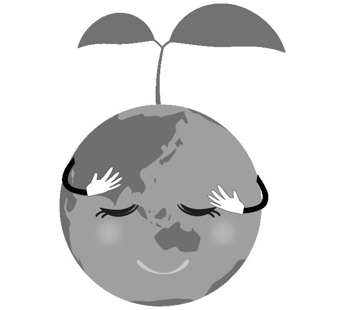 新芽と目を瞑る可愛い地球のイラスト(白黒)