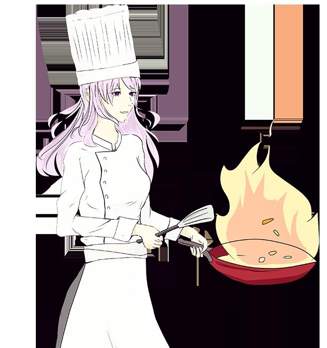 フライパンで炒め物をするコックのイラスト
