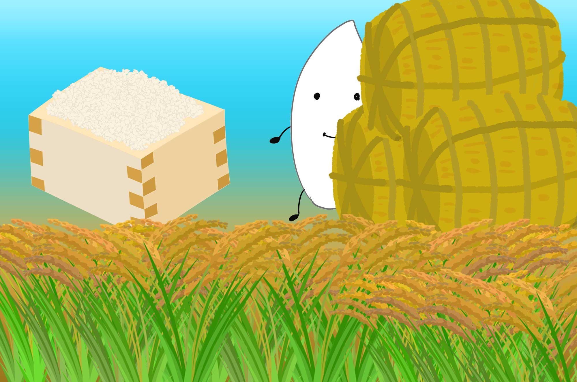 可愛い米のイラスト 稲やご飯俵や升のフリー素材 チコデザ