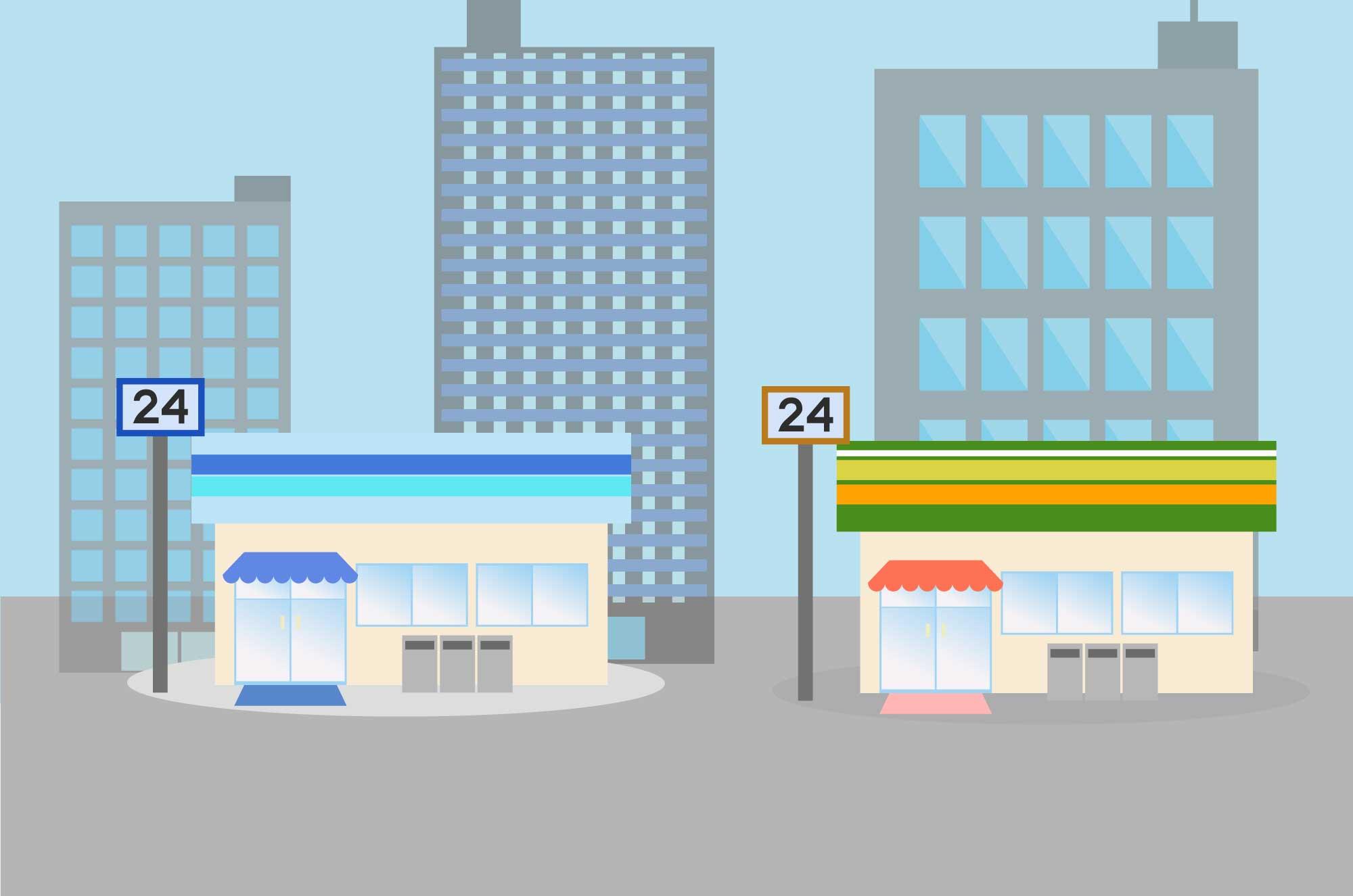 コンビニの無料イラスト - 24時間営業の建物素材