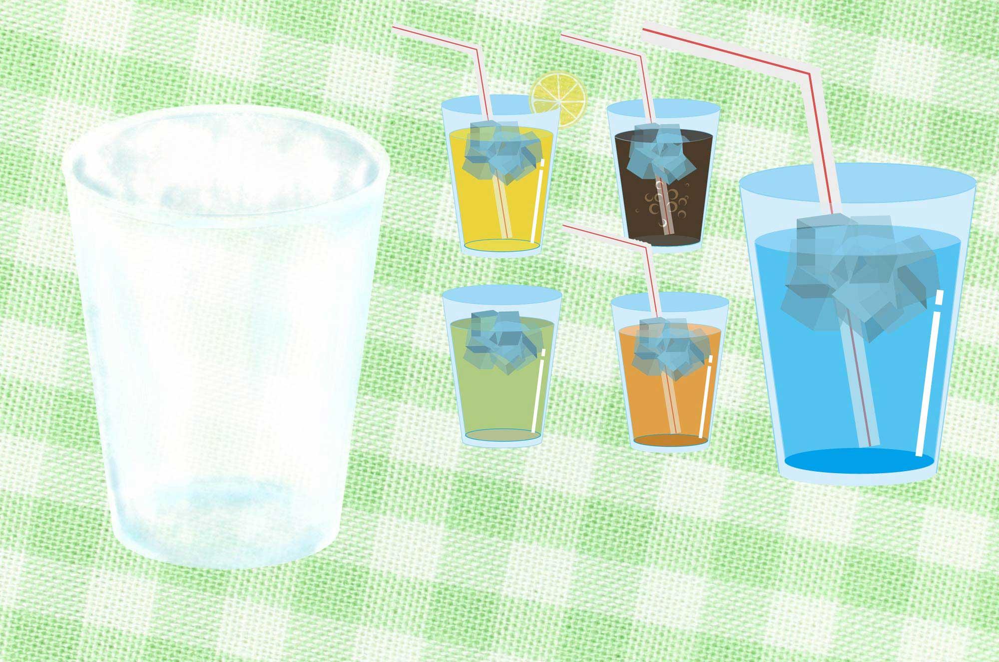 コップとジュースのイラスト - 可愛いくて冷たい無料素材