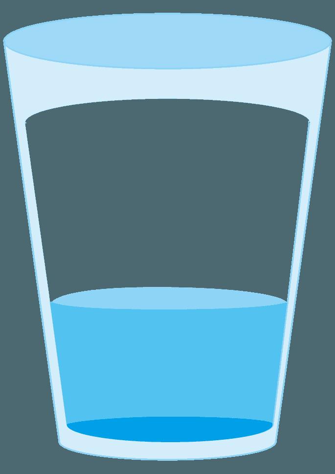 水が三分の一入ったコップイラスト