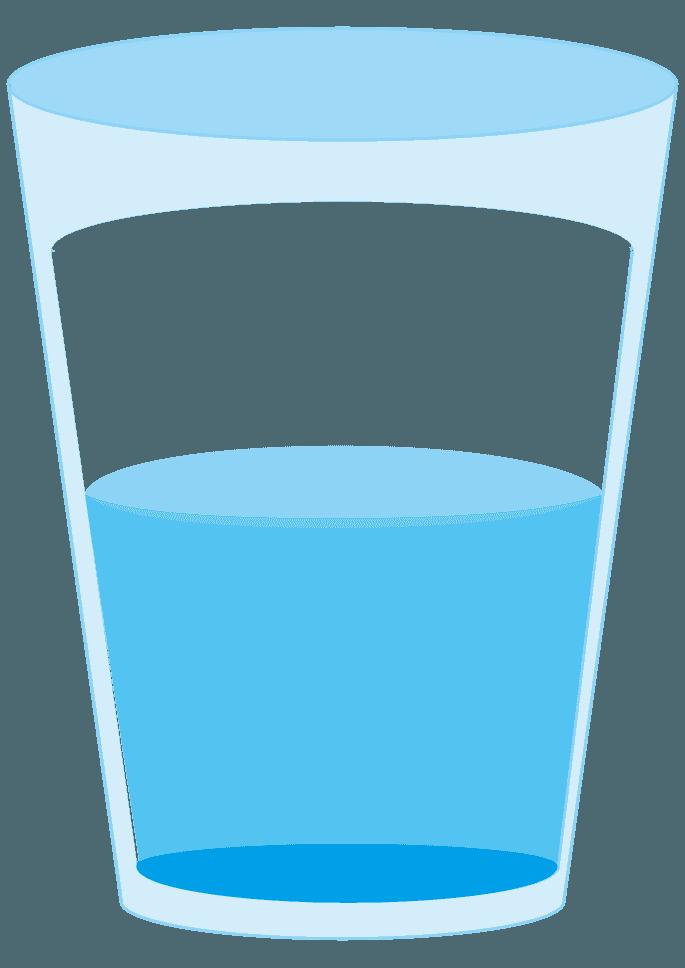 水が半分入ったコップイラスト