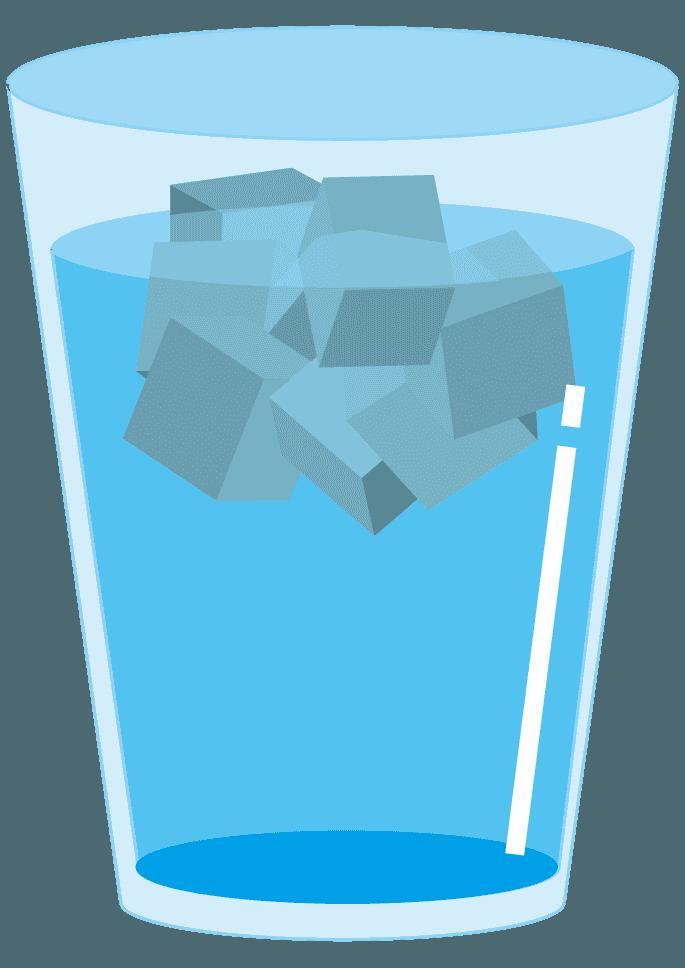 氷と水が入った冷たいコップイラスト