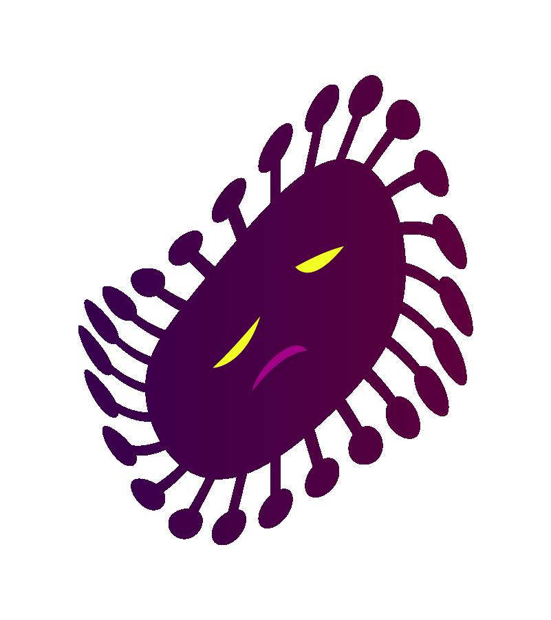 死滅しそうなコロナウイルスのイラスト