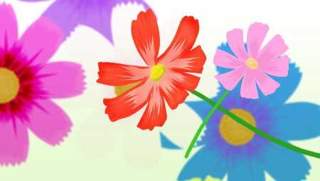 コスモスのイラスト - 赤・青・黃可愛い花の無料素材