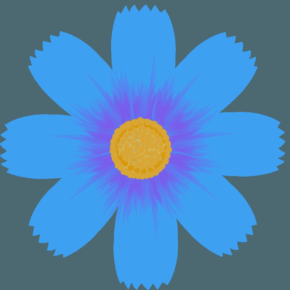 青いのコスモスの花のイラスト