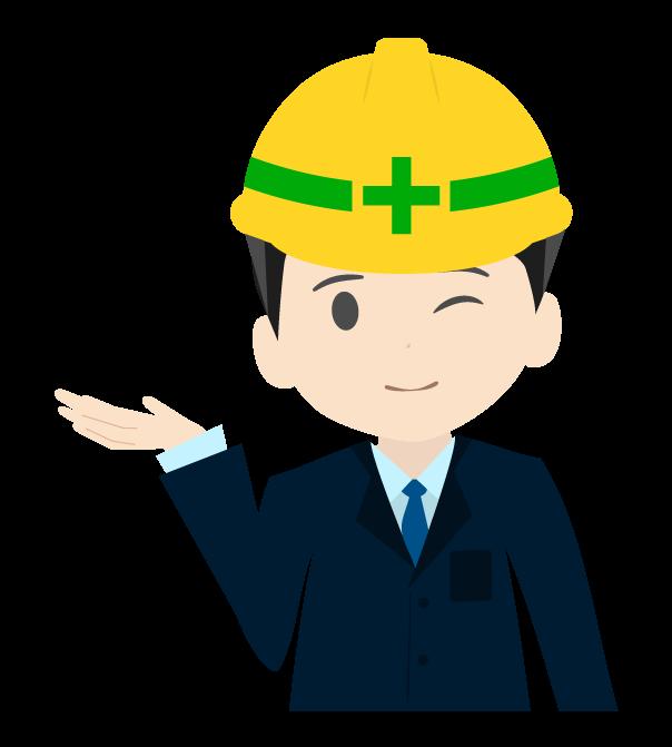 案内する工事現場のビジネスマン右むきのイラスト