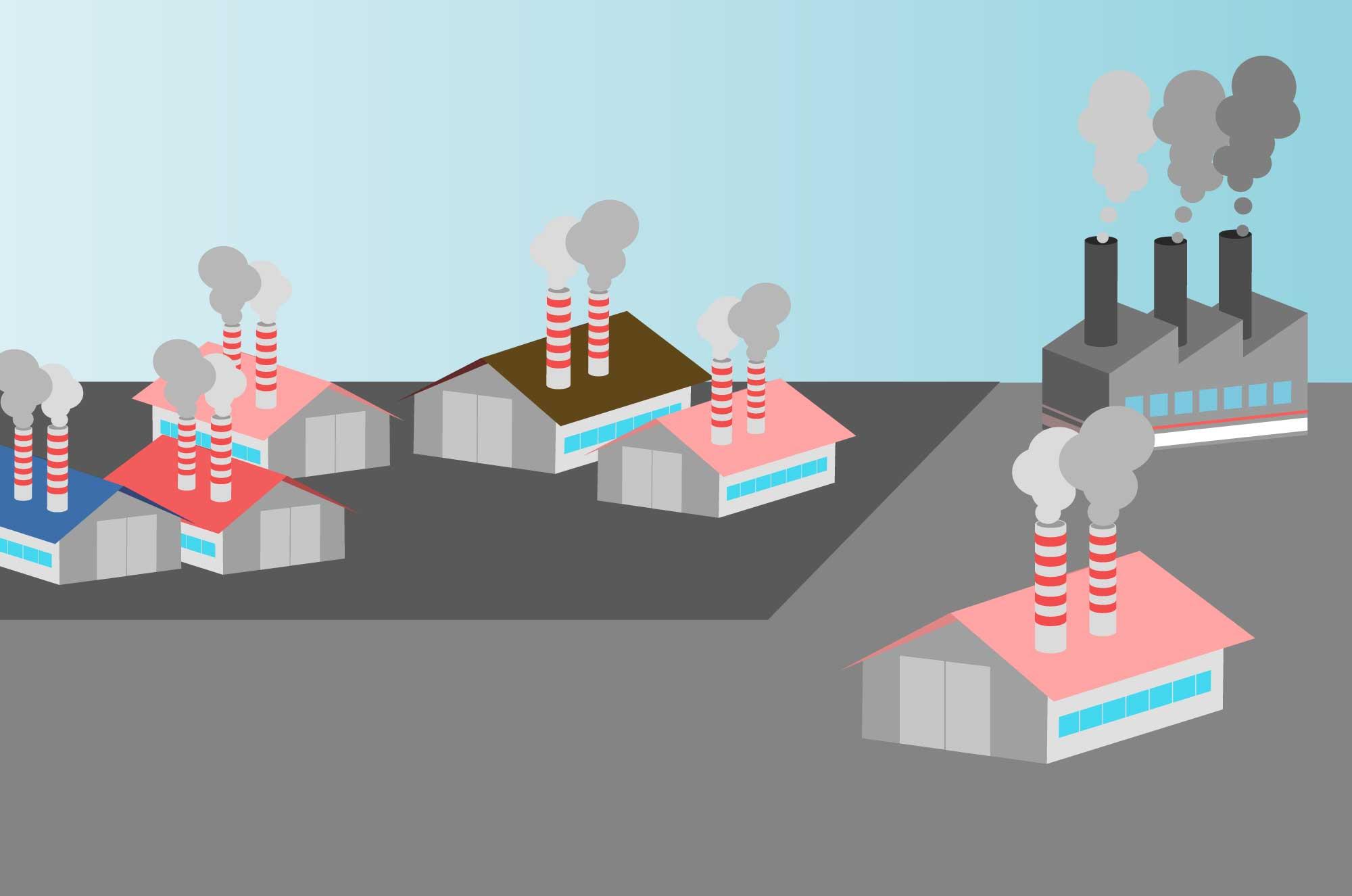 工場の無料イラスト - 煙突と公害・地図イメージ素材