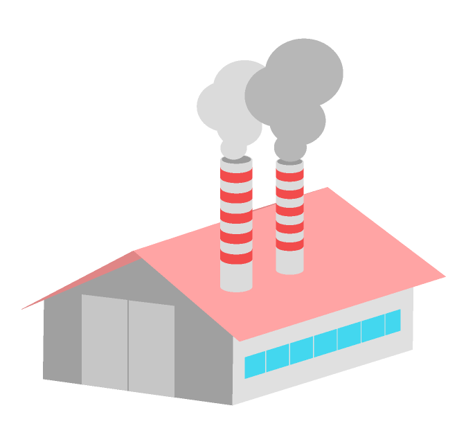 煙突から煙を出す工場のイラスト