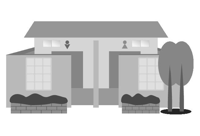 白黒の公衆トイレのイラスト