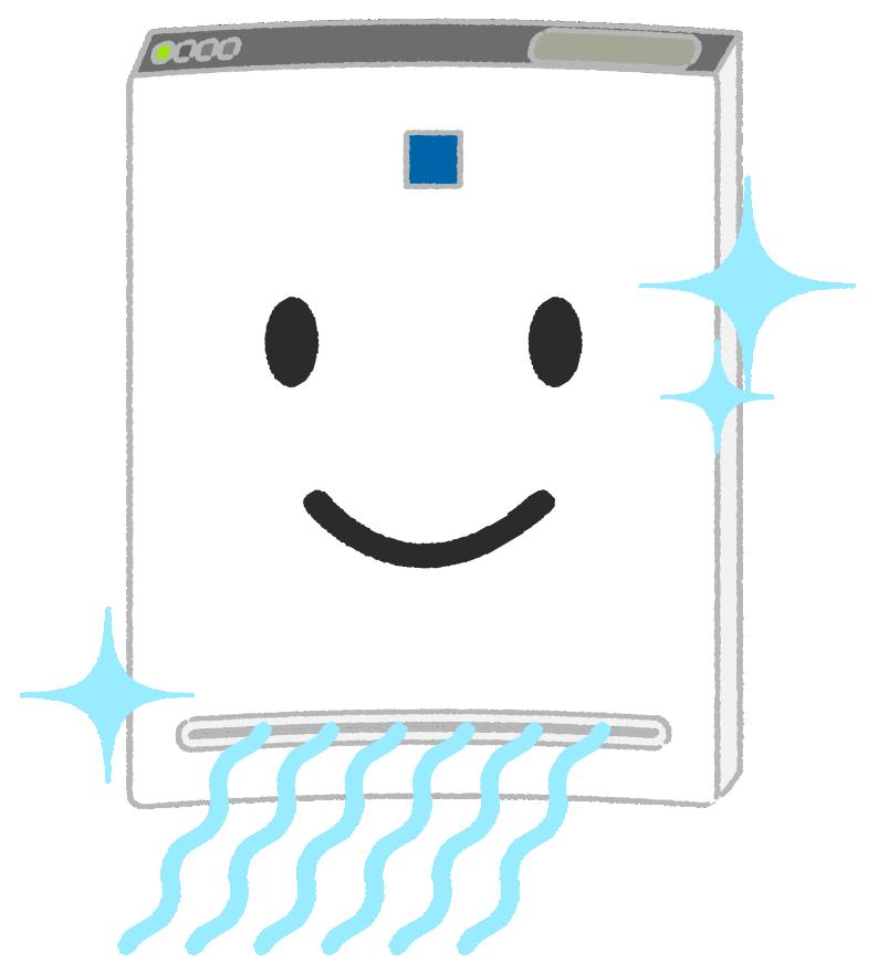 空気清浄機で空気を綺麗にするキャラクター