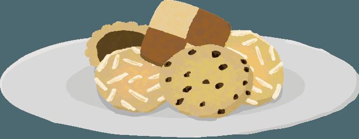 お皿に盛り付けたクッキーのイラスト