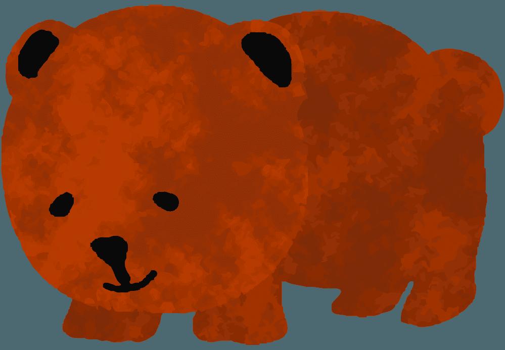 下をむく子熊イラスト