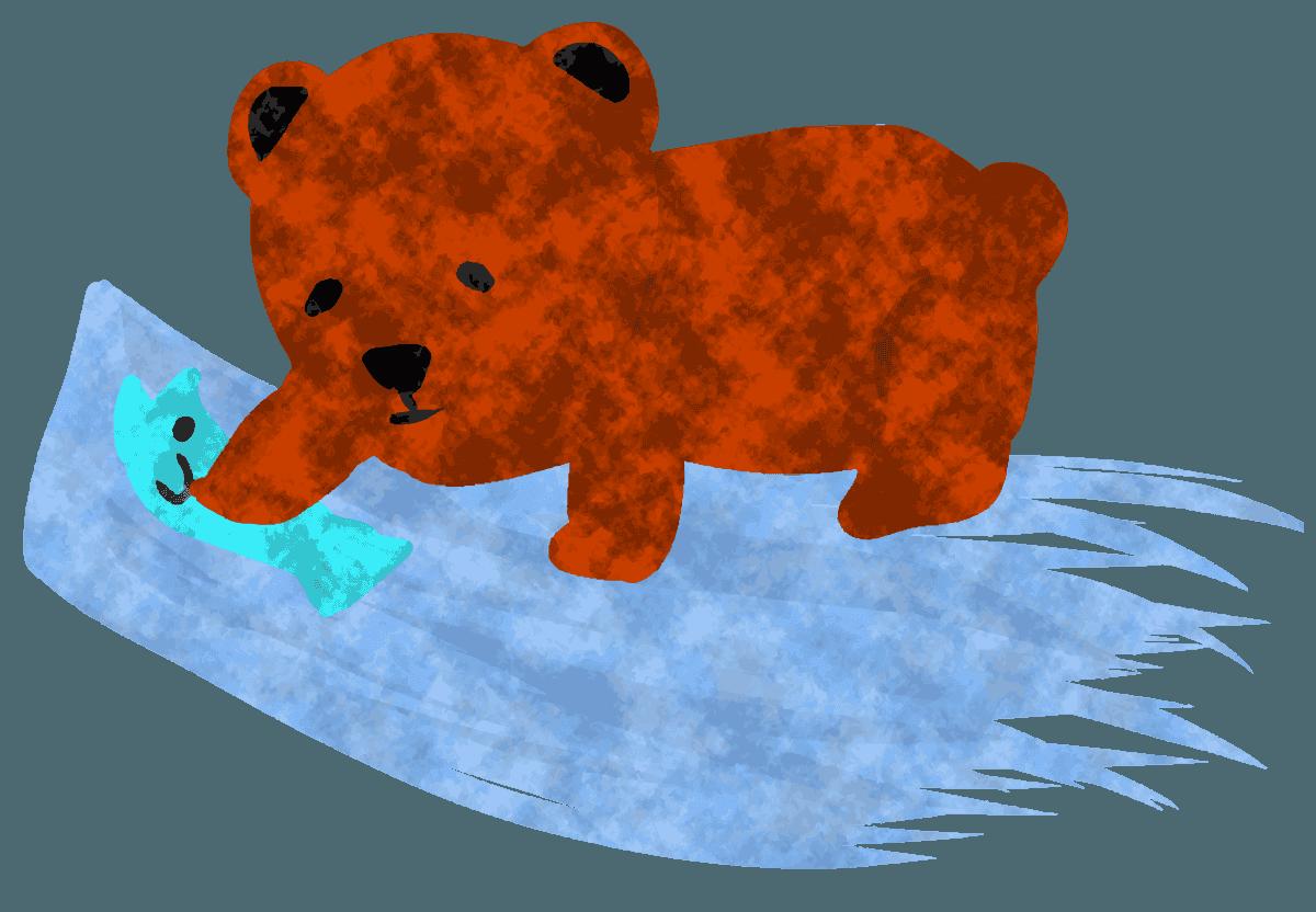 川で鮭をとるくまのイラスト