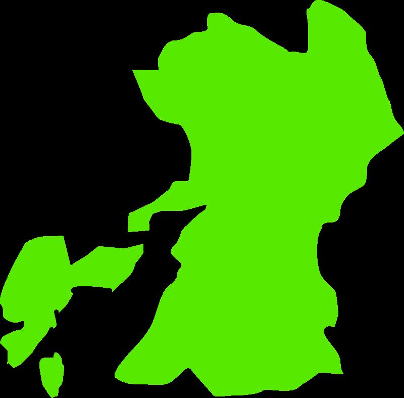 熊本の地図(大陸)のイラスト