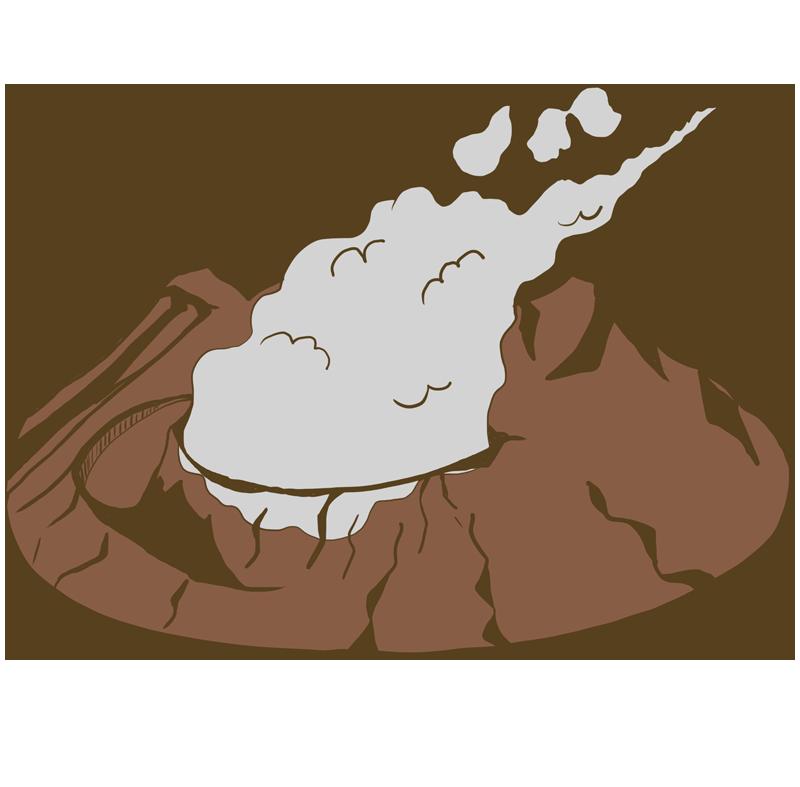 阿蘇山カルデラ地形のイラスト
