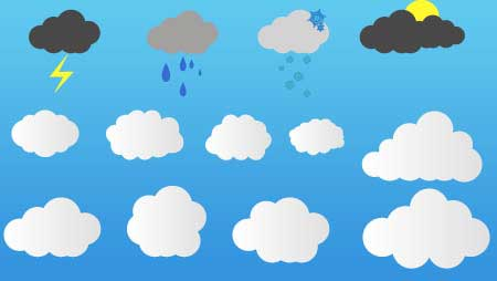 雲のイラスト素材!天気のアイコンに自然のデザインに★
