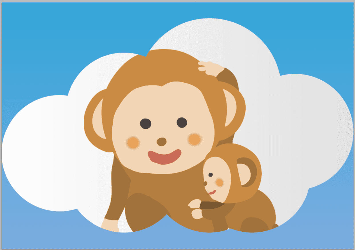 雲のイラストをフレームに猿をデザインした例