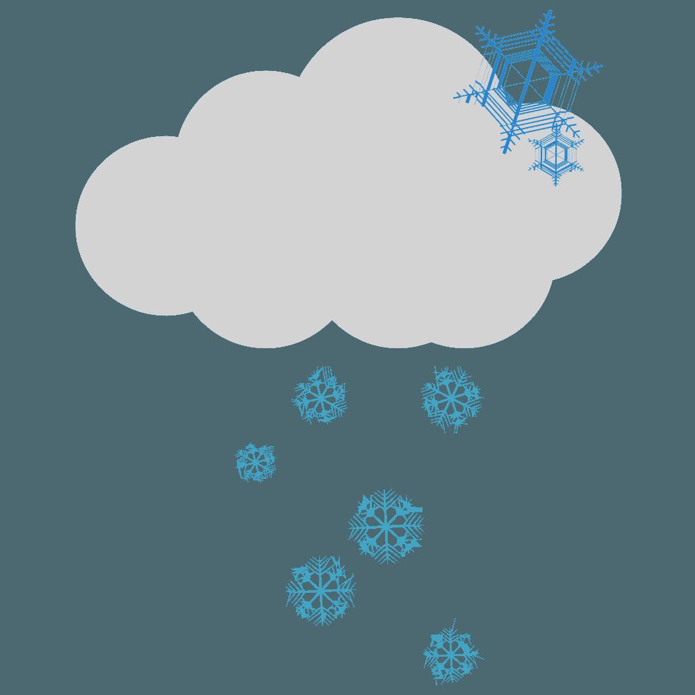 雪雲と雪の結晶