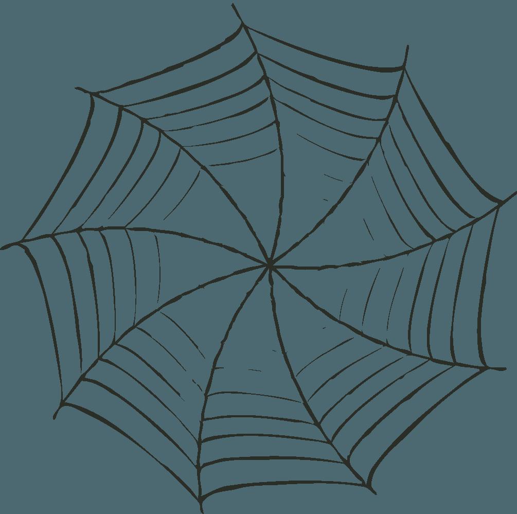 手書き風の旋回する蜘蛛の巣イラスト