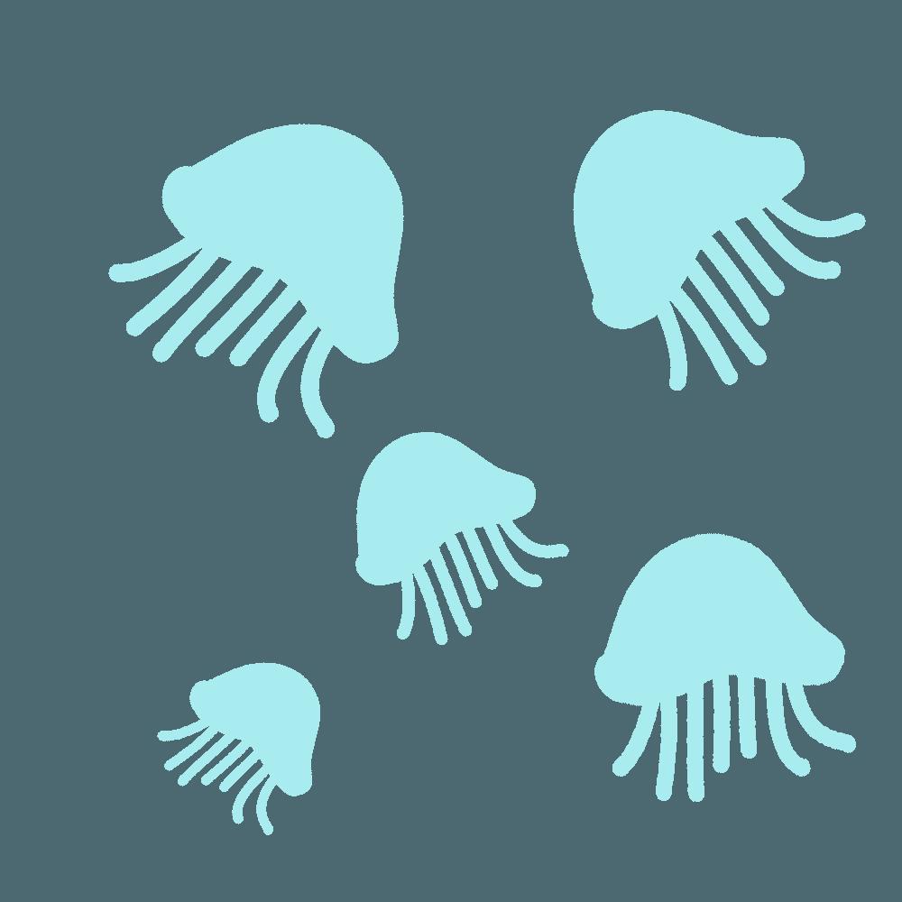 クラゲがいっぱいいるイラスト