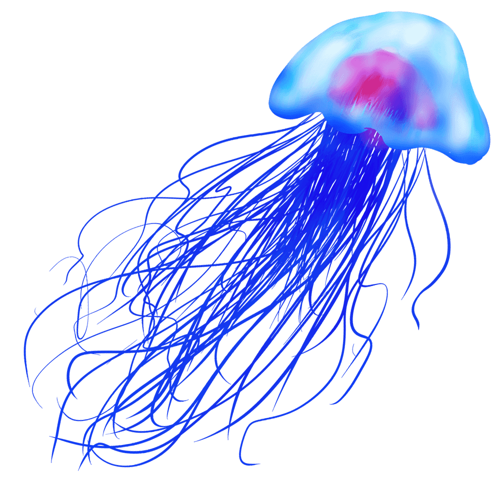 海の中で青く光るアートなクラゲイラスト