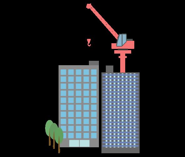 ビル建設クレーンのイラスト