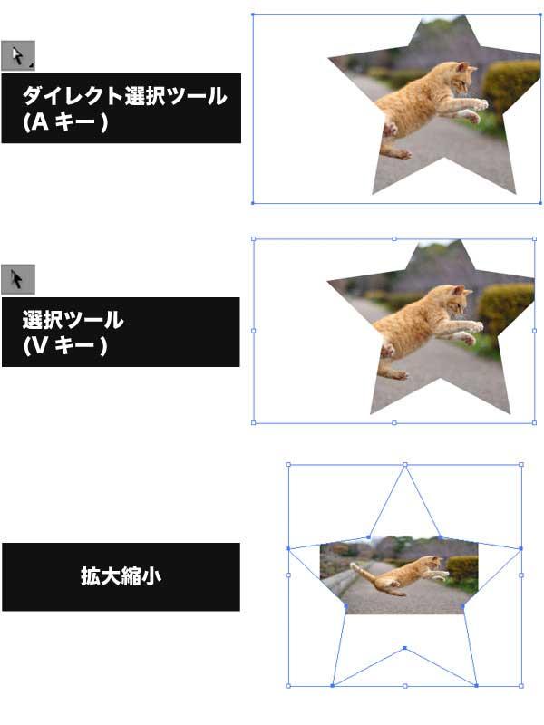 ダイレクト選択ツール→選択ツールでクリッピングマスクの中の写真だけを拡大する