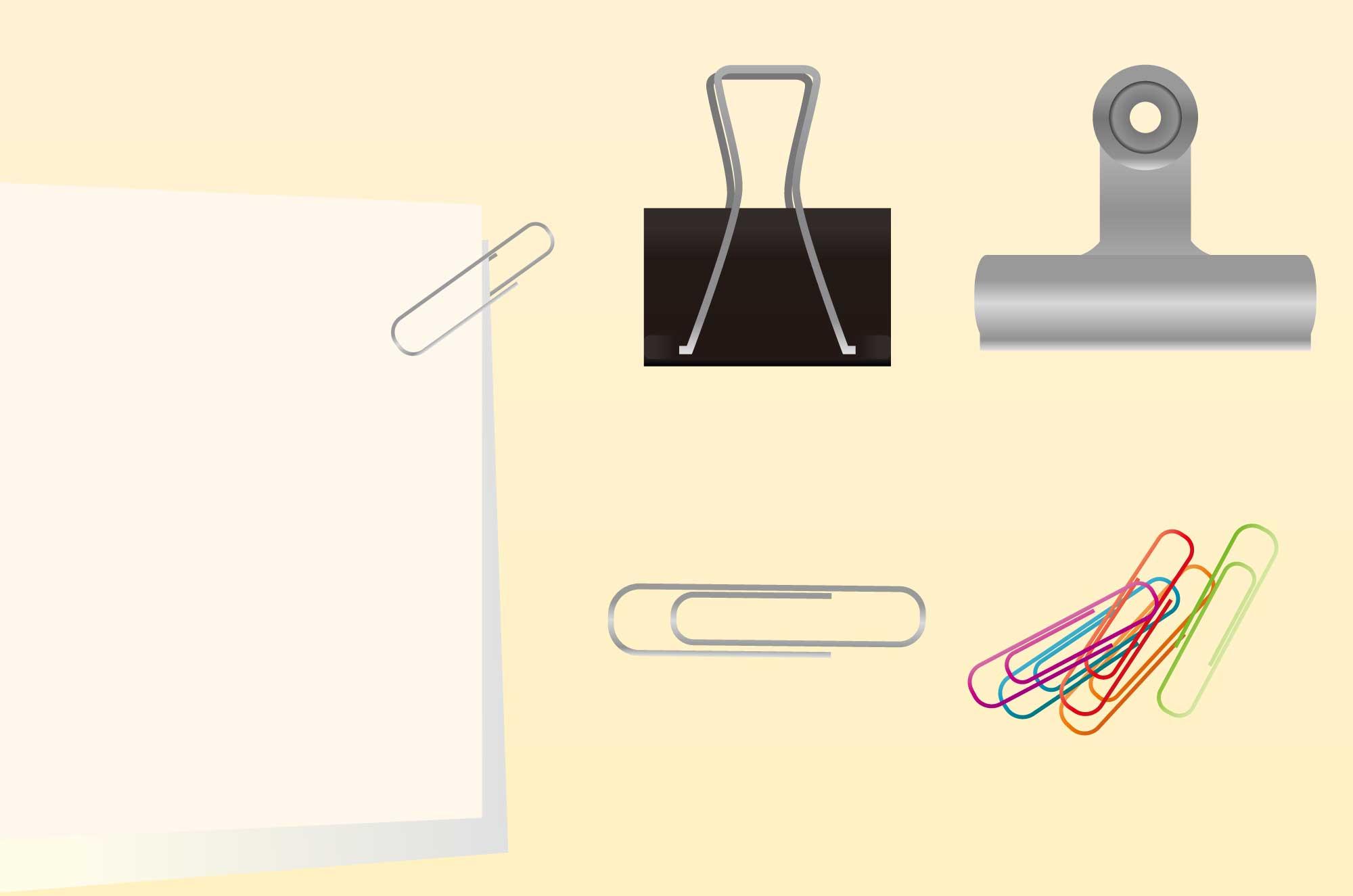 クリップのイラスト - 紙を挟む事務用品の無料素材