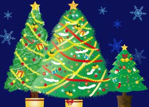 綺麗に輝くクリスマスツリーのイラスト