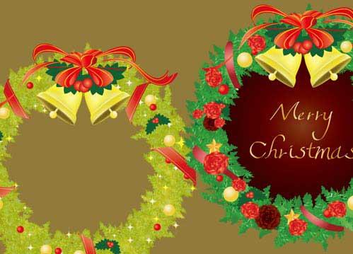 愛いクリスマスリースのイラスト
