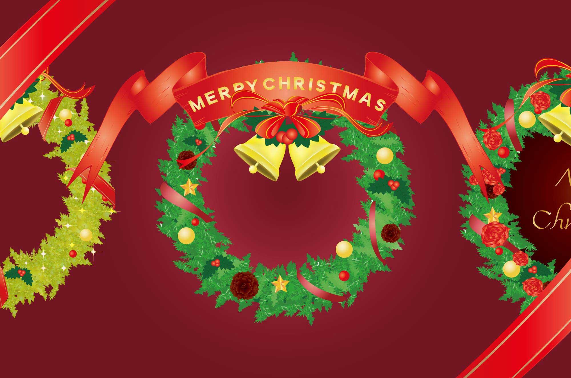 クリスマスリースのイラスト - 無料の可愛いデザイン素材