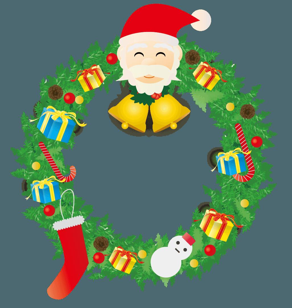 笑顔のサンタのクリスマスリースのイラスト