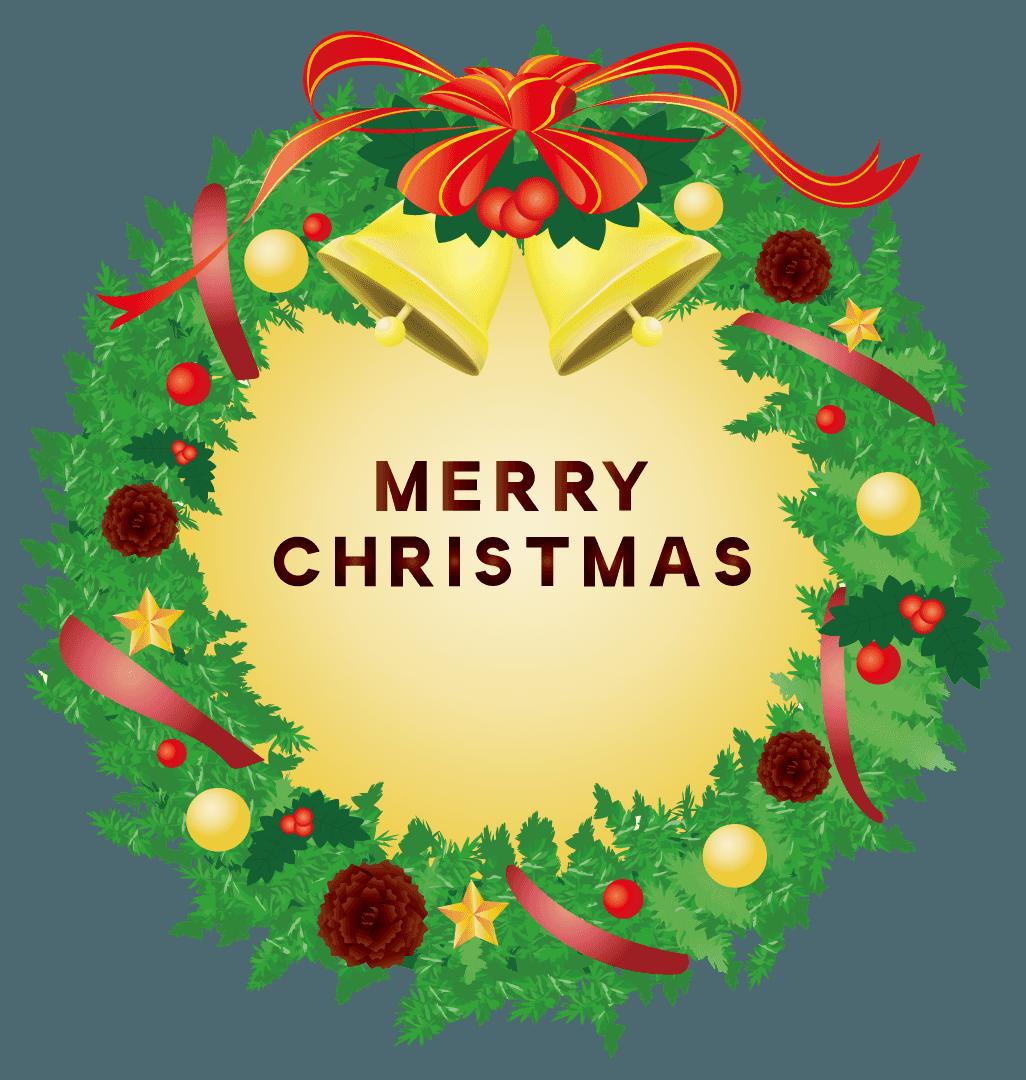 文字付きの可愛いクリスマスリースのイラスト